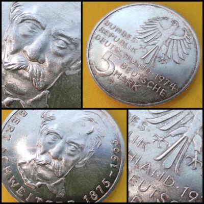 1974 NSZK ezüst emlék 5 márka érme G verdejel Albert Schweitzer