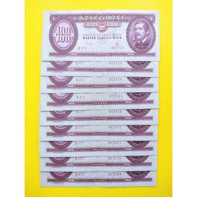 1975 100 forint 9 db sorszámkövető extra fine bankjegy
