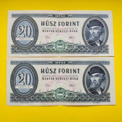 1975 20 forint sorszámkövető bankjegy pár