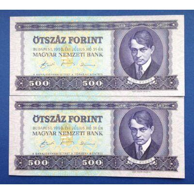 1990 500 forint UNC sorszámkövető bankjegy pár Numizmatika - bankjegyek