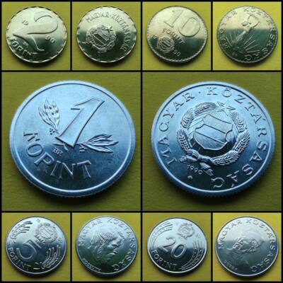 1990 1-2-5-10-20 forint UNC érme sor. Téves veret! Forgalomban nem volt.