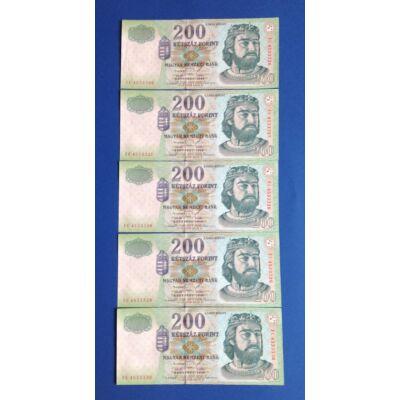 1998 200 forint FC sorozat 5 db sorszámkövető aUNC-UNC bankjegy Numizmatika - bankjegyek