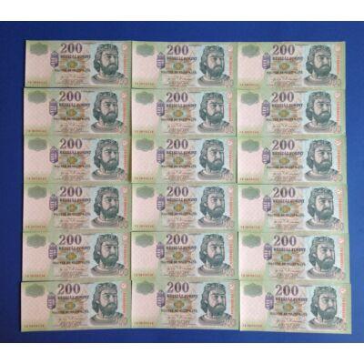 2004 200 forint FB 18 db sorszámkövető aUNC-UNC bankjegy Numizmatika - bankjegyek
