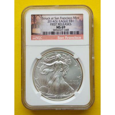 2014 Silver  Eagle 1 Uncia színezüst érme PCGS tokban MS 69 érme minősítéssel