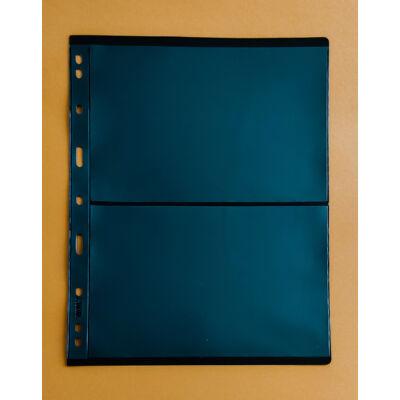 Bankjegytartó berakó lapok. 2 férőhely, Merev tartású, kétoldalas, fekete háttérrel. A4-es méretben