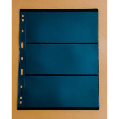 Bankjegytartó berakó lapok. 3 férőhely, Merev tartású, kétoldalas, fekete háttérrel. A4-es méretben