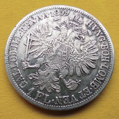 1859 1 Florin Ferencz József ezüst érme VF Numizmatika - Érmék, érme