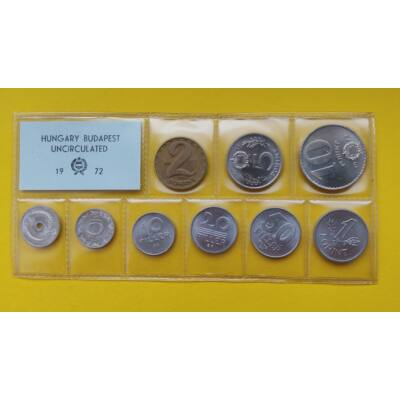 Fóliás Forint érme forgalmi sor 1972-es évjárat 9 db UNC érme Numizmatika - Érmék, érme