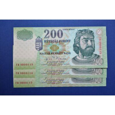 2004 200 forint FB 3 db UNC sorszámkövető, alacsony sorszámú bankjegy!