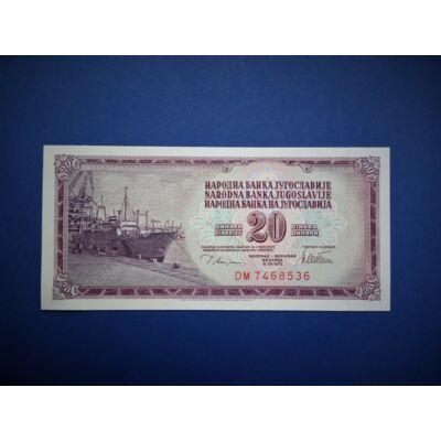 1978 Jugoszláv 20 dínár UNC bankjegy! Sorszámkövető is lehet!