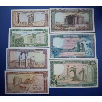1980-88 Libanon 1-5-10-25-50-100-250 Livres 7 db-os gyönyörű UNC bankjegy sor