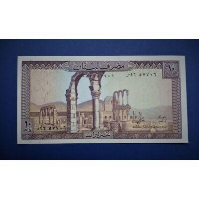 1986 Libanon 10 livra UNC bankjegy. Sorszámkövető is lehet!