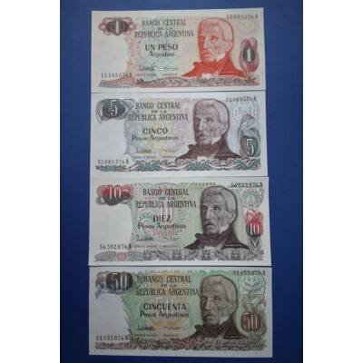 1983-85 Argentina 1-5-10-50 Peso 4 db-os UNC bankjegy sor. Numizmatika - bankjegyek