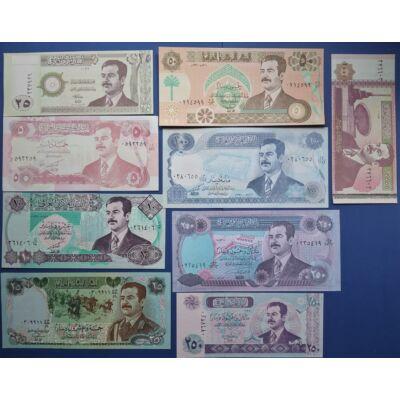 1986-2002 Irak 5-10-25-25-50-100-250-250-10000 Dinar 9 db UNC bankjegy