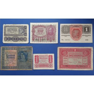 1917-1922 Osztrák- Magyar korona bankjegy sor 6 darab vegyes tartásfokon