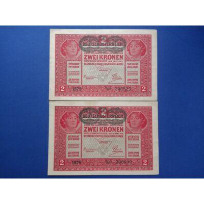 1917 2 korona 2 db sorszámkövető hajtatlan bankjegy