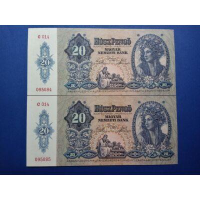 1941 20 Pengő 2 db sorszámkövető UNC bankjegy