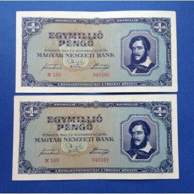 1945 1 millió Pengő 2 db sorszámkövető XF bankjegy Numizmatika - bankjegyek