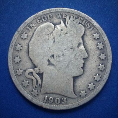 1903 Barber Half Dollar patinás amerikai ezüst érme 12,5 g 0,900