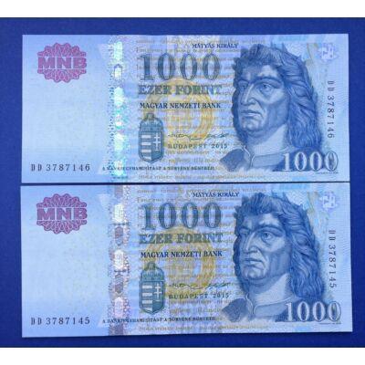 2015 1000 forint sorszámkövető aUNC bankjegy pár