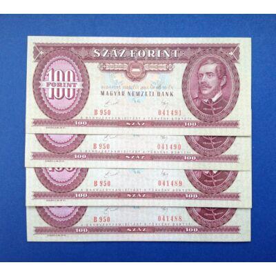 1989 100 forint 4 db sorszámkövető Extra fine bankjegy
