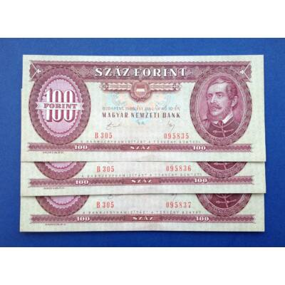 1989 100 forint 3 db sorszámkövető Extra fine bankjegy