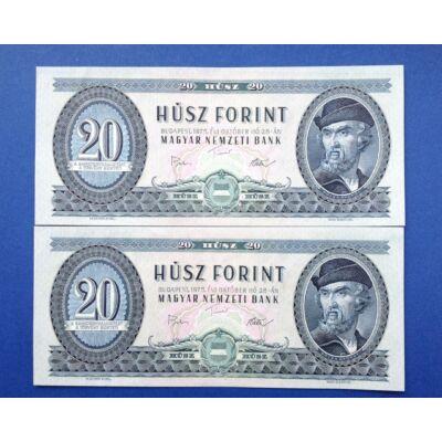 1975 20 forint Extra fine sorszámkövető bankjegyek Numizmatika - bankjegyek