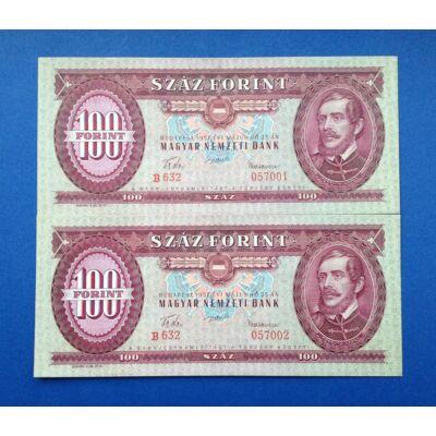 1957 100 forint UNC sorszámkövető bankjegy pár