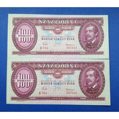 1960 100 forint UNC sorszámkövető bankjegy pár
