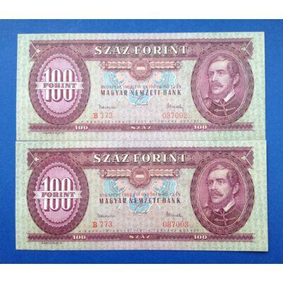 1962 100 forint UNC sorszámkövető bankjegy pár Numizmatika - bankjegyek