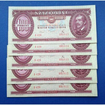 1975 100 forint 5 darab UNC sorszámkövető bankjegy Numizmatika - bankjegyek