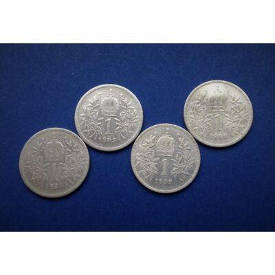 1894-1895-1899-1900 ezüst 1 korona érme sor. 4 db egyben