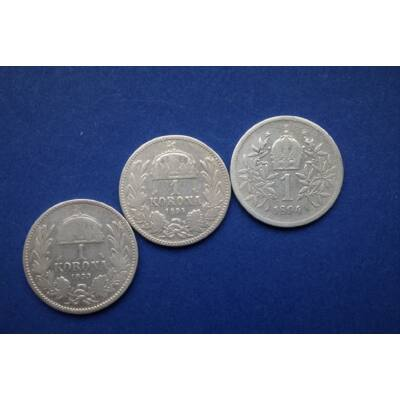 1893-94-es ezüst 1 korona érme sor. 3 db egyben