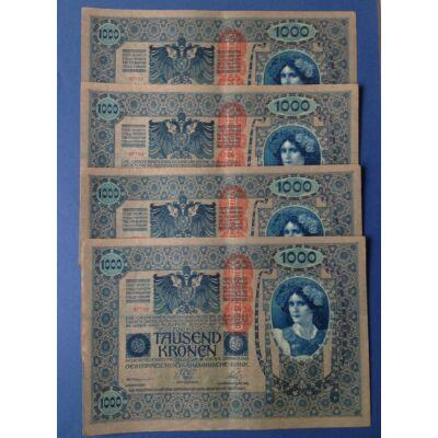 1902 1000 korona 4 db sorszámkövető XF bankjegy
