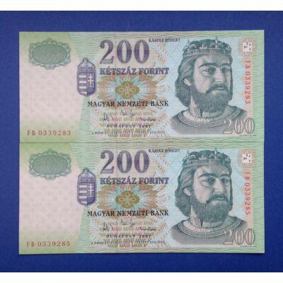 2007 200 forint UNC sorszámkövető bankjegy pár 1 szám ugrással Numizmatika - bankjegyek