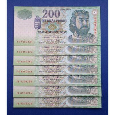 2006 200 forint 7 db UNC sorszámkövető bankjegy