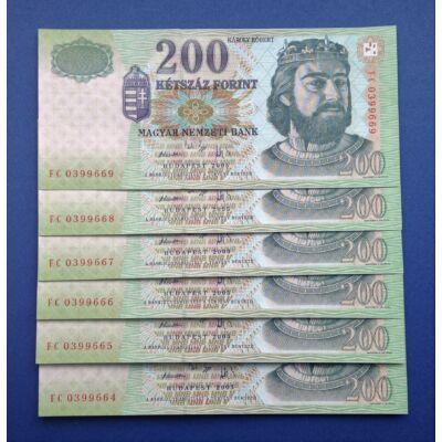 2005 200 forint FC sorozat 6 db UNC sorszámkövető bankjegy