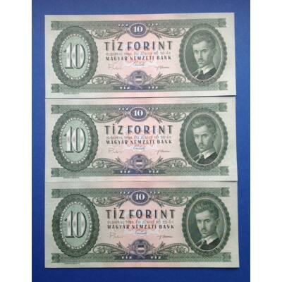 1969 10 forint 3 darab sorszámkövető UNC bankjegy