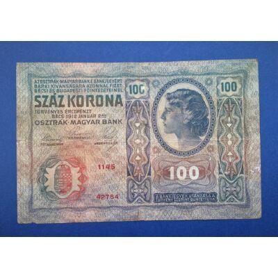 1912 100 korona bankjegy Románia felülbélyegzéssel