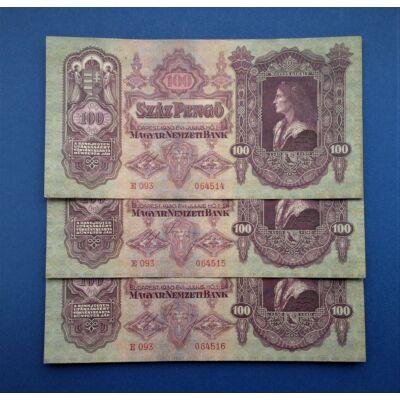 1930 100 pengő 3 db sorszámkövető aUNC bankjegy