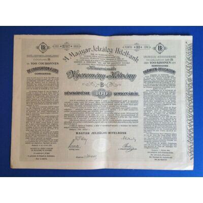 Magyar Jelzálog- Hitelbank nyeremény kötvény 100 korona 1906 B sorozat Numizmatika - Értékpapír, váltó