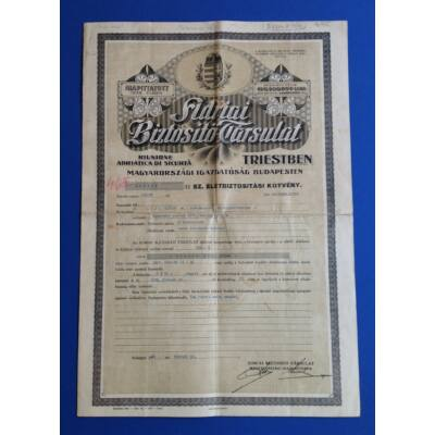 Adriai Biztosító Társulat-Életbiztosítási kötvény 1928 Numizmatika - Értékpapír, váltó