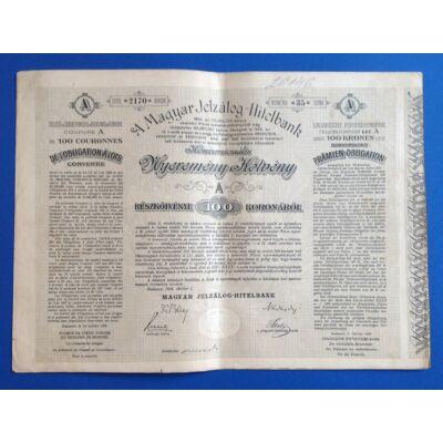 Magyar Jelzálog- Hitelbank nyeremény kötvény 100 korona 1906 A sorozat Numizmatika - Értékpapír, váltó