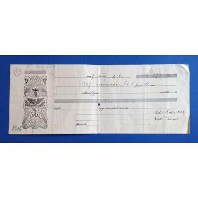1927-es évjáratú váltó 280 pengőről hátoldalán 30 filléres illetékbélyeggel