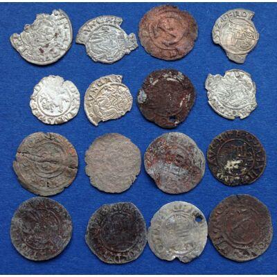 Középkori (XVI. század) vegyes lot 16 db ezüst és réz érme, dénár, solidus, garas