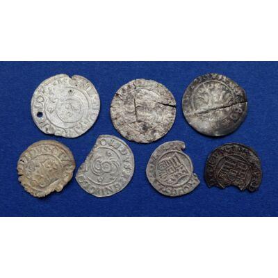 Középkori (XVI. század) 7 db-os ezüst és réz érme sor, dénár, solidus, garas