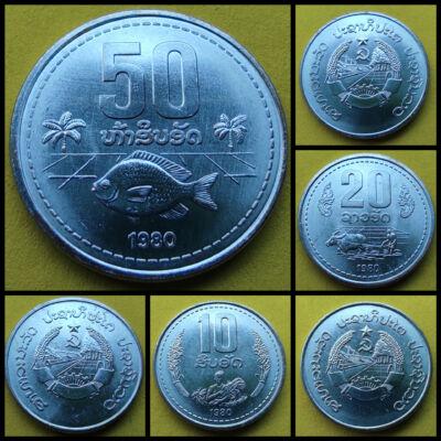 Laos 10-20-50 Att UNC verdefényes érme sor 3 darab
