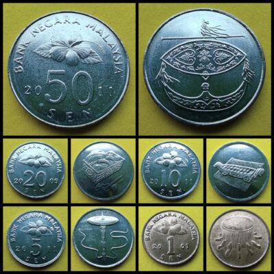 Malajzia 1-5-10-20-50 Sen UNC verdefényes érme sor.