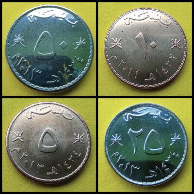 Omán 5-10-25-50 Baisa UNC verdefényes érme sor