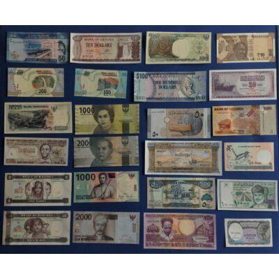 24 db-os vegyes, UNC külföldi bankjegy gyűjtemény Numizmatika - bankjegyek
